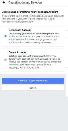 Click Deactivate Account - Delete Facebook Account