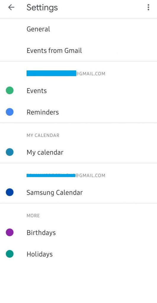 Click General - Google Calendar Dark Mode