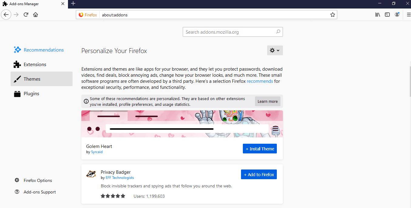 Click on Themes - Firefox Dark Mode
