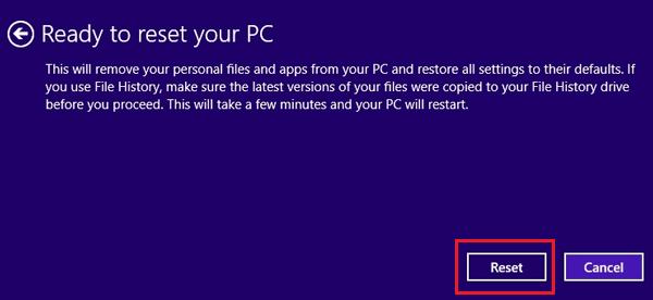 Factory Reset Windows 8
