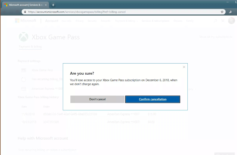 Confirm Cancelling Xbox Game Pass Subscription