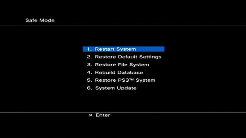 PS3 Safe Mode Menu