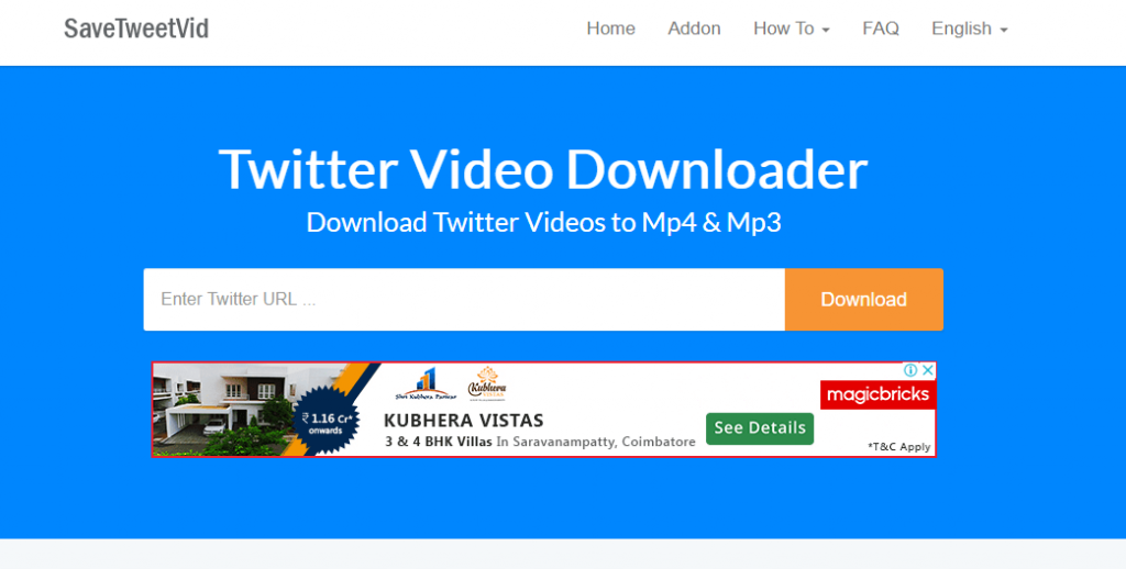 Paste URL and Press Download to Dwonload Twitter Videos