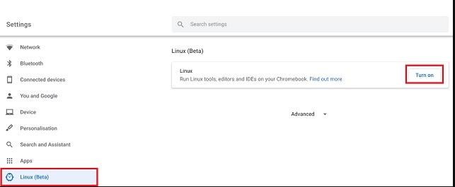 Turn on Linux Beta