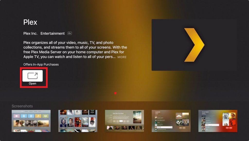 Open Plex app on Apple TV