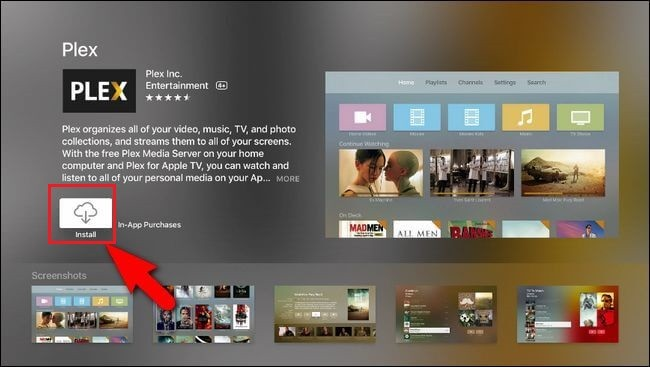 Install Plex app on Apple TV