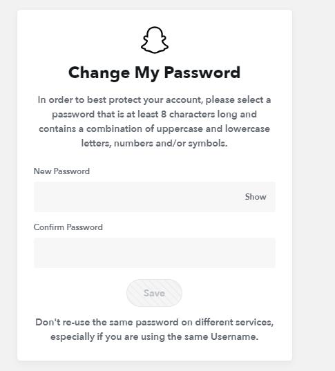 Reset Snapchat Password from Website