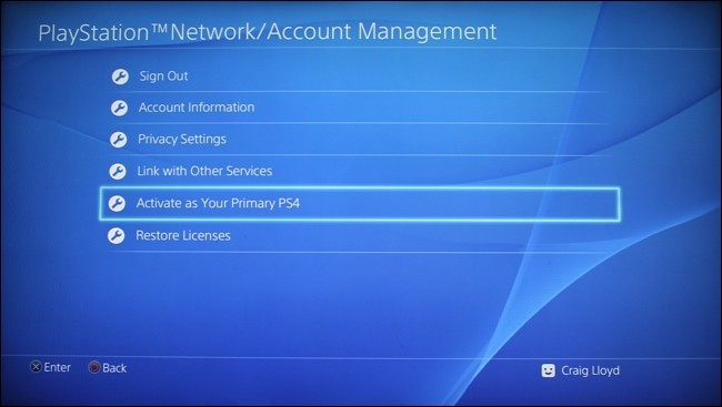 Select Activate as Your Primary PS4