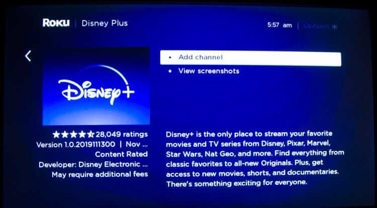 Select Add Channel: Disney Plus on Roku