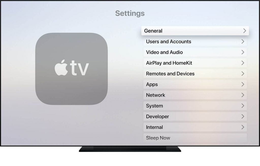 Select General from Apple TV Menu