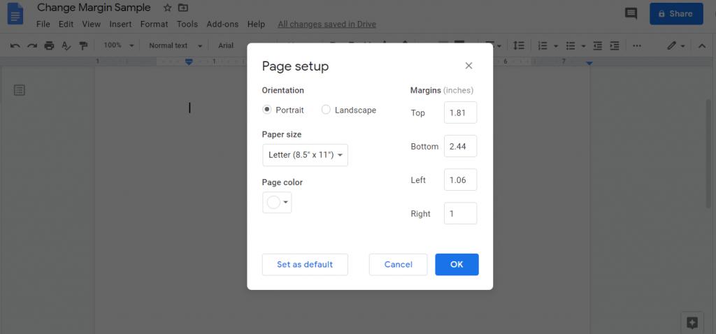 Set Margin and click on OK - How to Change Margins In Google Docs