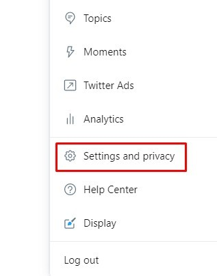 Settings and Privacy - Delete Twitter Account