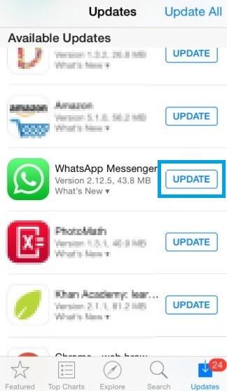 Update WhatsApp on iOS