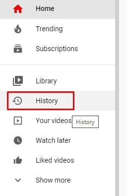 Click on the history button