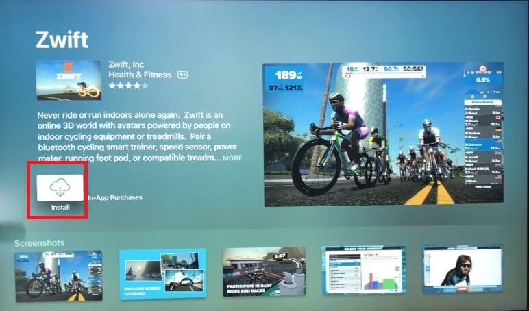 Zwift on Apple TV