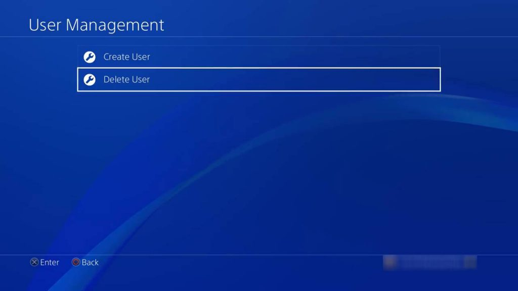 delete a user on PS4