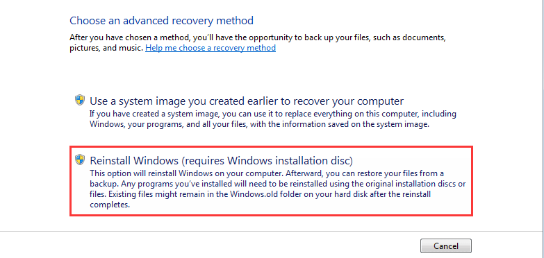 Choose advanced recovery method