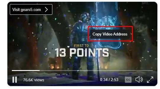 Copy Video Address