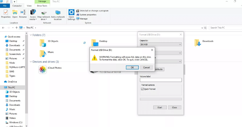 Accept the Warning - How to Format SD Card on Windows 10