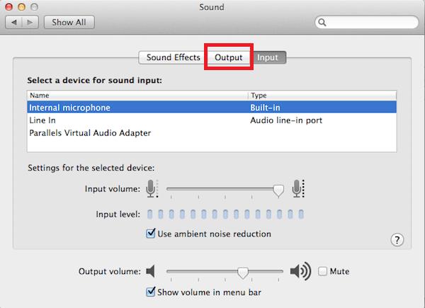 Sound -> Output Option
