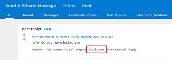 Block Someone on Reddit