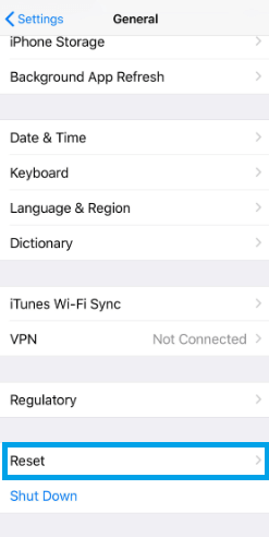 Choose Reset - How to Factory Reset iPhone