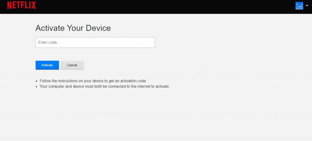 Enter Netflix Activation Code