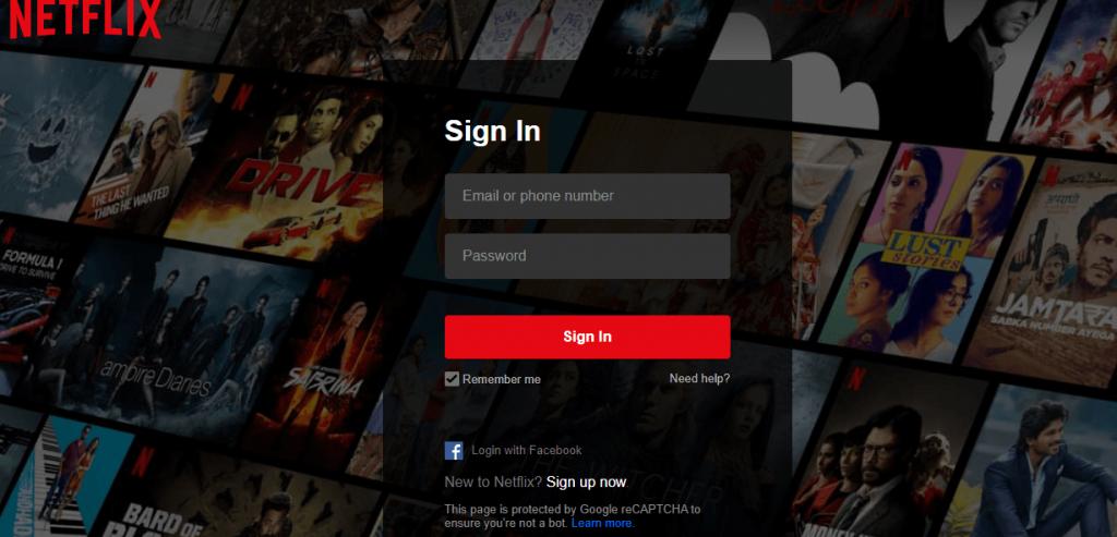 Login into Netflix account