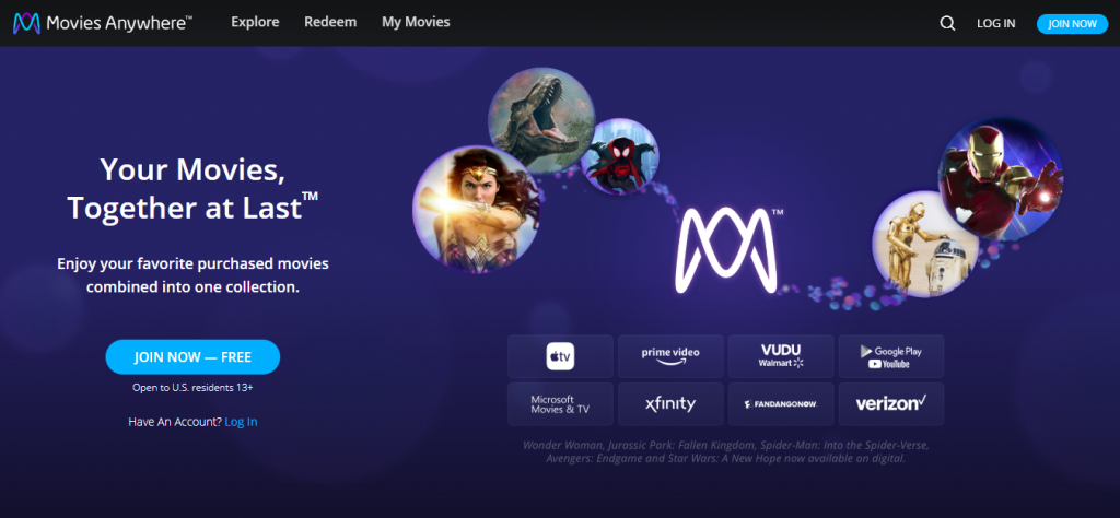 Movies Anywhere supported services