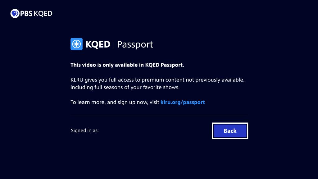 PBS Passport on Roku