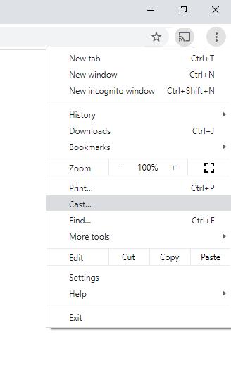 Select Cast option