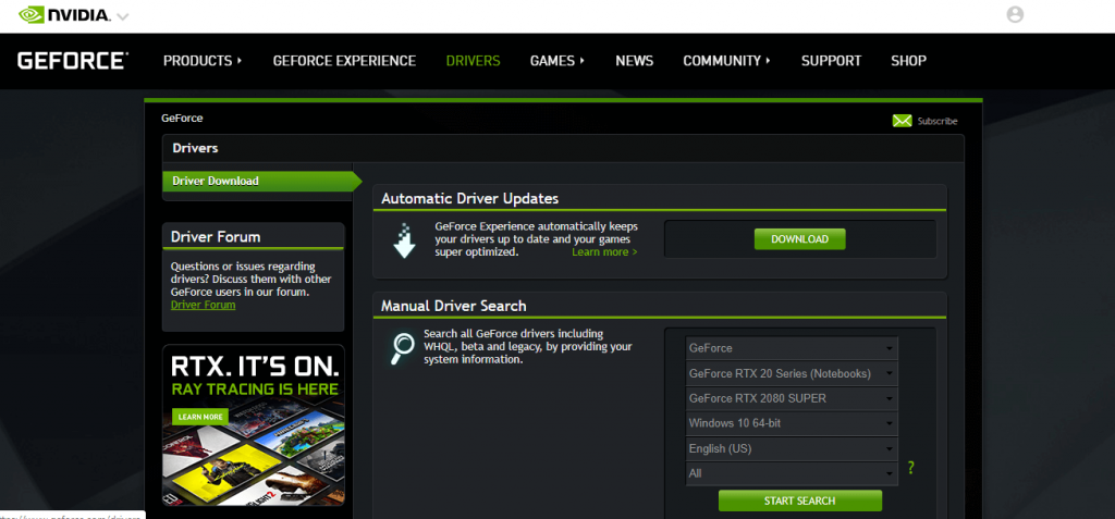 Select Drivers tab: How to Update Nvidia Drivers