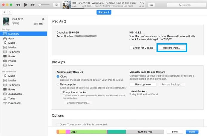 Select Restore iPad
