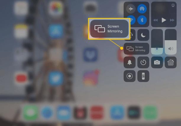 Select Screen Mirroring - AirPlay on iPad