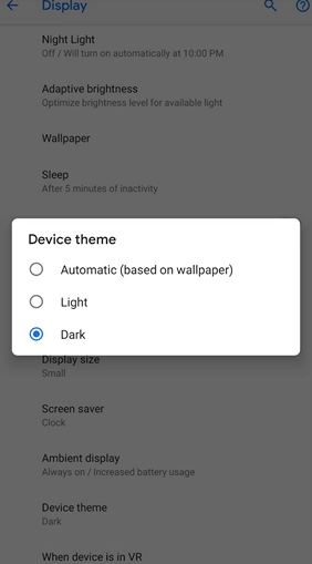 Tap on Dark - Google Photos Dark Mode
