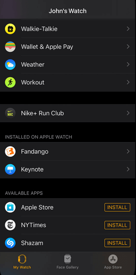 Tap on My Watch tab