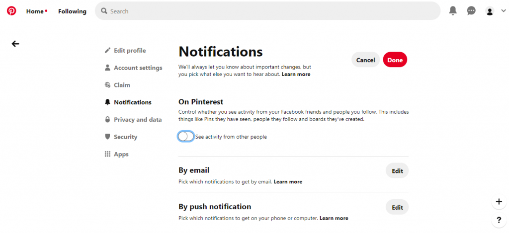Turn Off Notifications on Pinterest