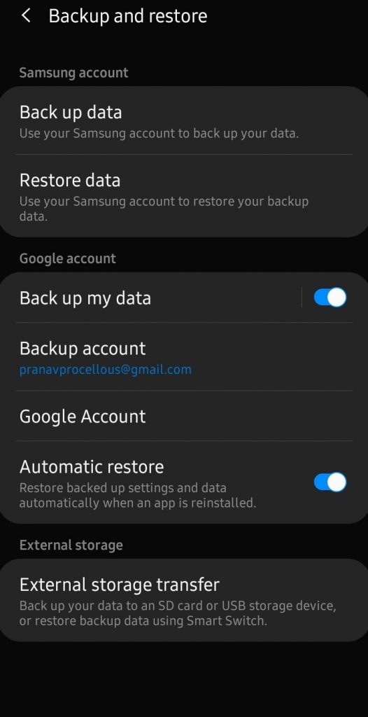 Turn on Back up your Data - Backup Contacts on Android