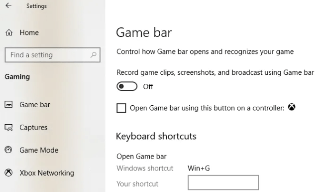 Turn on Slider to Show Game Bar