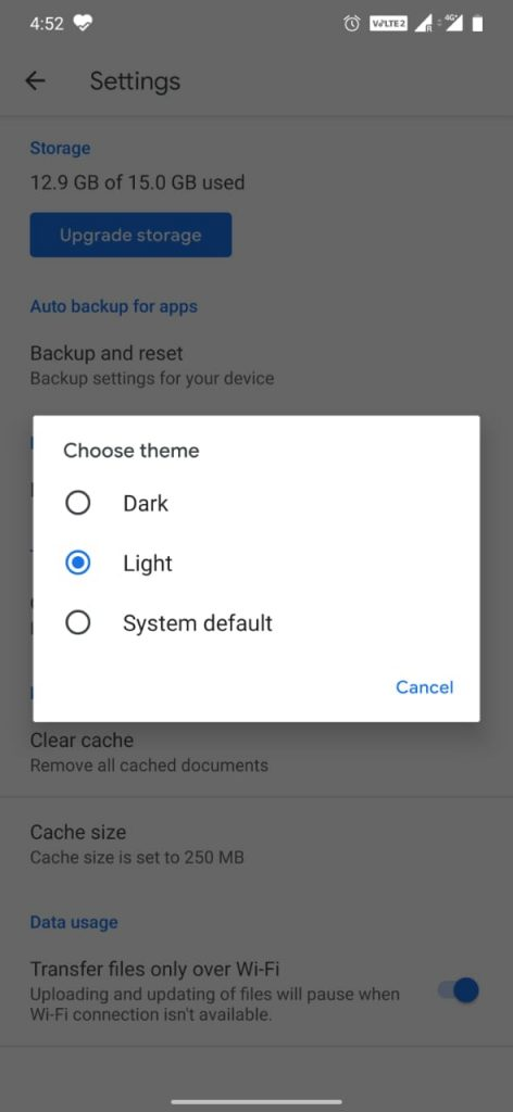 Dark Mode on Google Drive