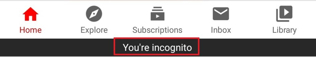 Incognito mode on YouTube