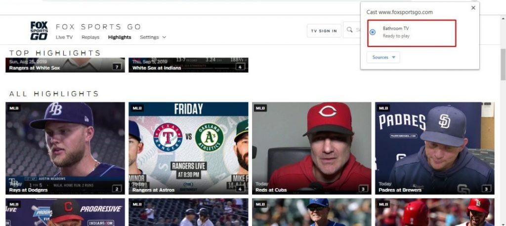 Chromecast Fox Sports Go