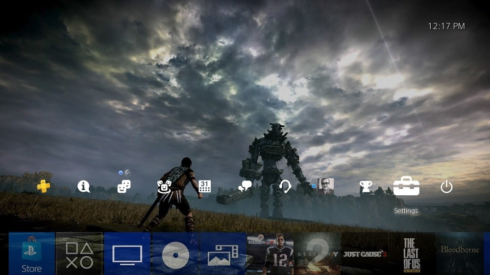 PlayStation home screen