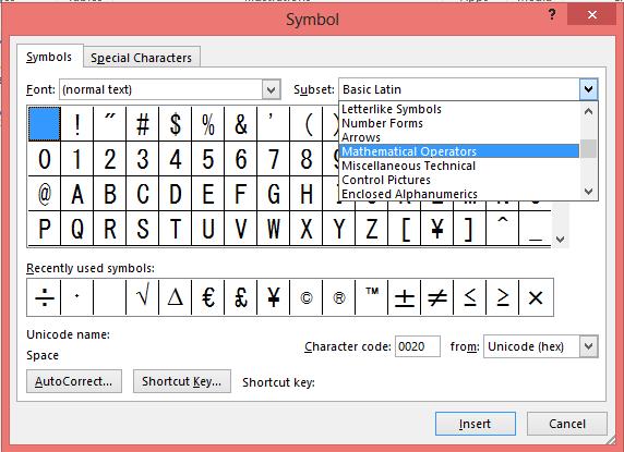 Choose Mathematical Operators