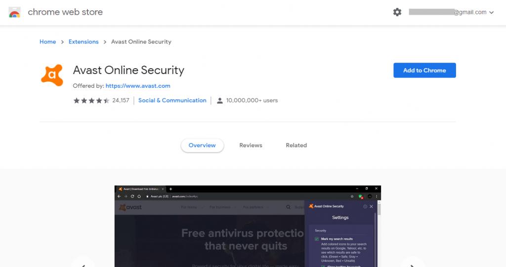Add to Chrome-Avast for Chromebook