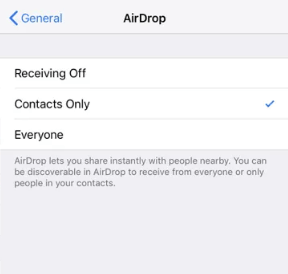 Turn on AirDrop
