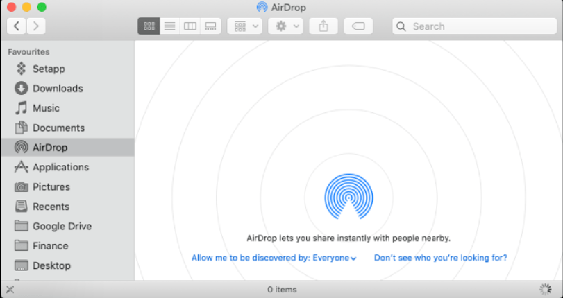 Select AirDrop on mac to transfer files from iPHone to mac