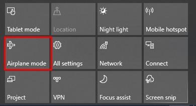 Airplane mode on Windows 10