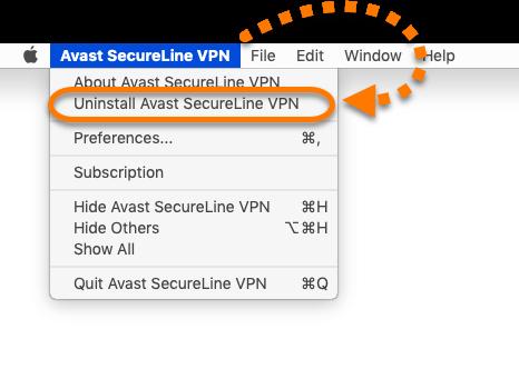 Choose Uninstall Avast SecureLine VPN
