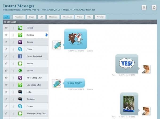 FlexiSPY Instant Message Recording Screenshot